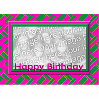 green and pink Happy Birthday photo frame Standing Photo Sculpture
