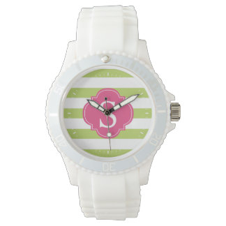 Green and Pink Horizontal Stripes Monogram Watch