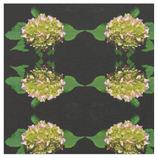Green and pink Hydrangea Fabric