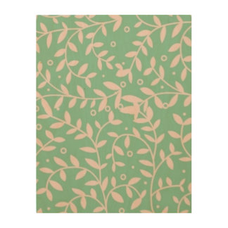 """Green and pink leaves 11""""x14"""" Wood Wall Art"""