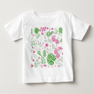 Green and pink leaves and flowers baby T-Shirt