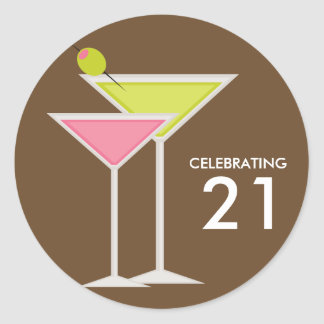 Green and Pink Martinis Classic Round Sticker