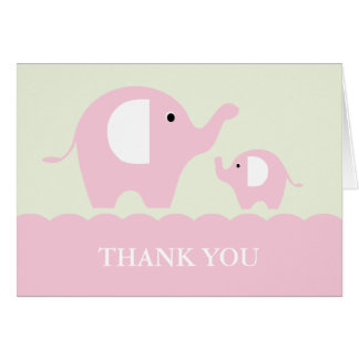 Green and Pink Mom and Baby Elephants Card