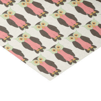 Green and Pink Owl Tissue Paper