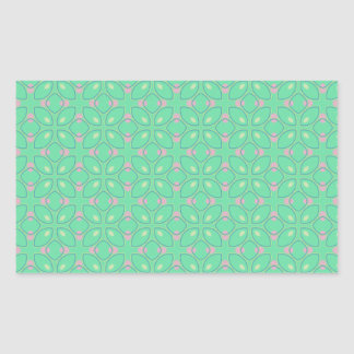 Green and Pink Pattern Rectangle Sticker