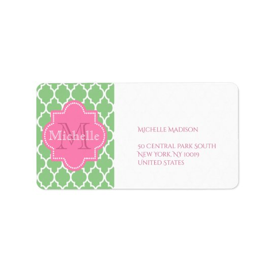 Green and pink personalized label