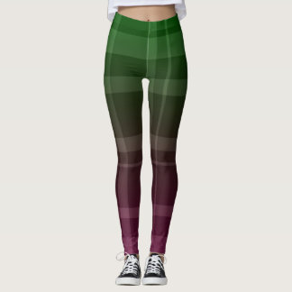 Green and Pink Plaid Leggings