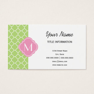 Green and Pink Quatrefoil Pattern with Monogram Business Card