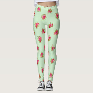 Green and Pink Rosebuds Floral Womens Leggings