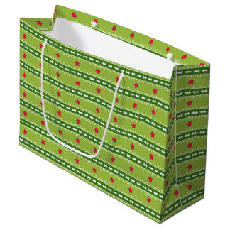 Green and Pink Stars Gift Bag - Large