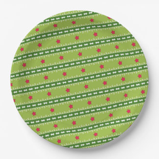 Green and Pink Stars Paper Plate