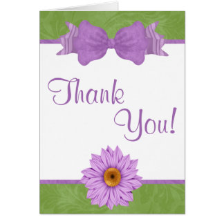 Green and Purple Bow and Flower Thank You Card