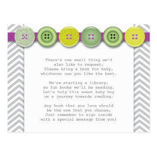 Green and Purple Button Insert card Postcard
