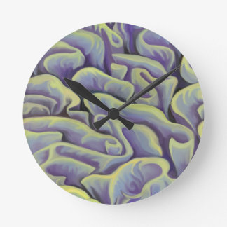 Green and Purple Coral Round Clock