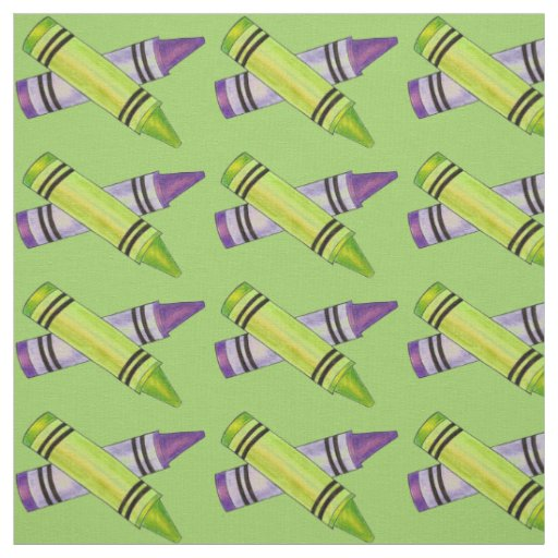 Green and Purple Crayons Art Teacher Crayon Fabric