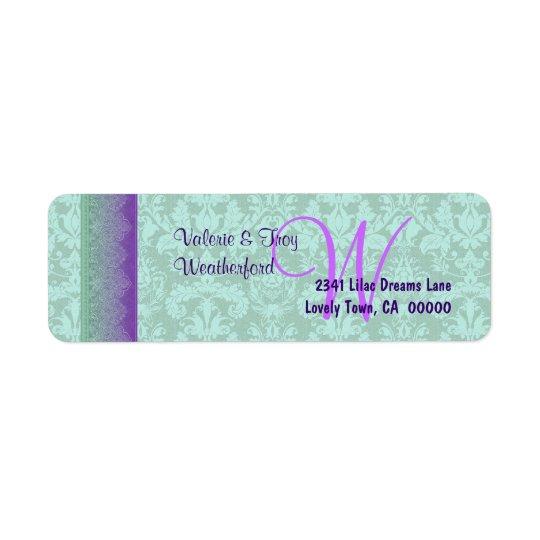 Green and Purple Damask Monogram Wedding V014 Return Address Label