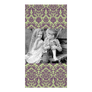 Green and Purple Elegant Damask Pattern Photo Card Template