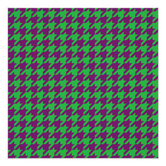 GREEN AND PURPLE HOUNDSTOOTH PATTERN PERFECT POSTER