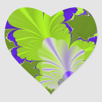 Green and Purple Leaf Heart Sticker