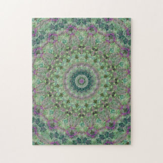 Green and Purple Mandala Kaleidoscope Jigsaw Puzzle