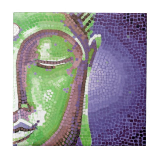 Green and Purple Mosaic Buddha Face Tiles