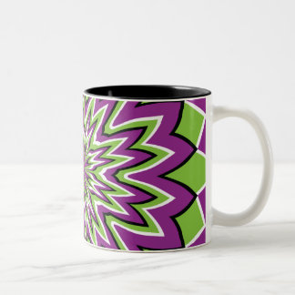 Green and purple optical illusion Two-Tone coffee mug