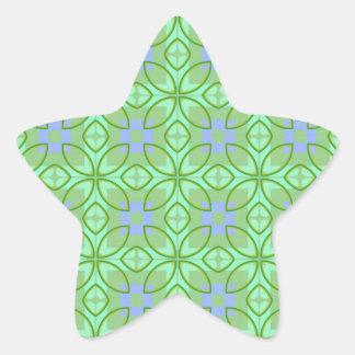 Green and Purple Pattern Star Sticker