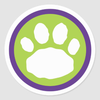 Green and Purple Paw Print Halloween Classic Round Sticker