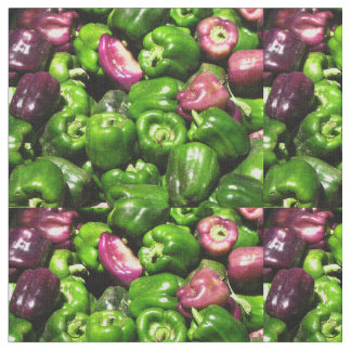 Green and Purple Peppers Fabric