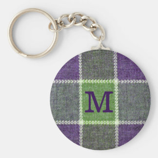 Green and Purple Plaid flannel Texture Monogram Keychain