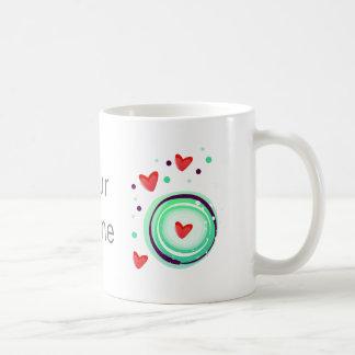 green and purple, red heart coffee mug