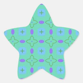 Green and Purple Stars Star Sticker