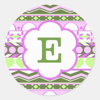 green and purple striped aztec pattern monogram round sticker