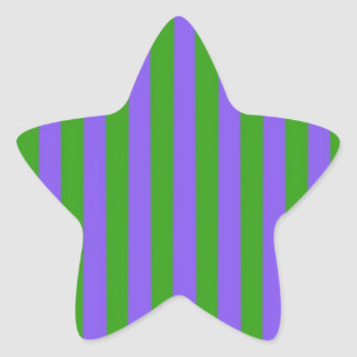 Green and Purple Stripes Star Sticker