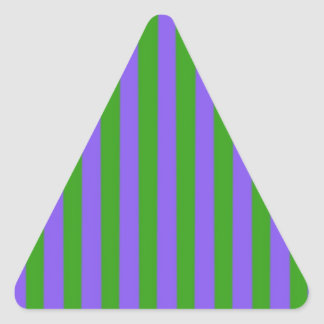 Green and Purple Stripes Triangle Stickers