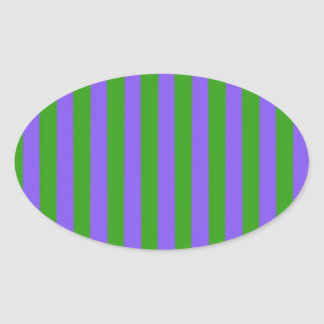 Green and Purple Stripes Oval Sticker