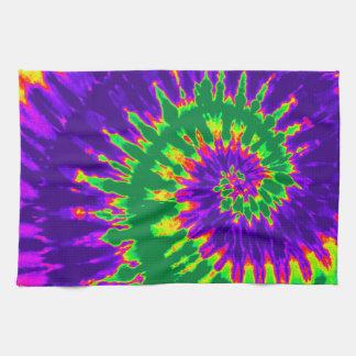 Green and Purple Tie Dye Kitchen Towel