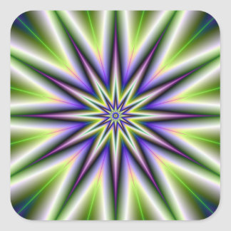 Green and Purple Time Star Sticker