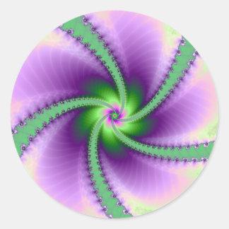 Green and Purple Whirligig Round Sticker