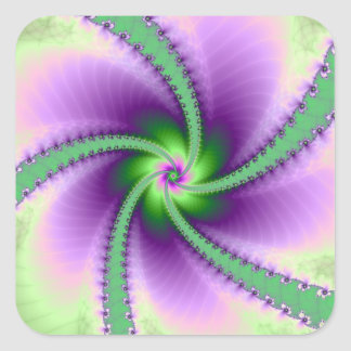 Green and Purple Whirligig Square Sticker