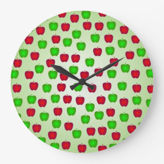 Green and Red Apples Pattern Wall Clock