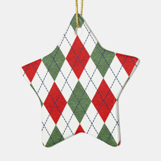 Green and Red Argyle Ceramic Star Ornament