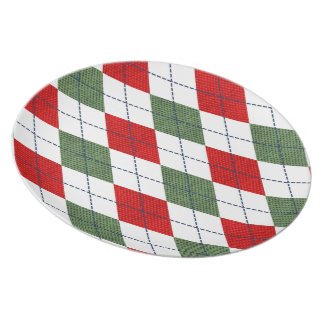 Green and Red Argyle Plate