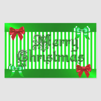 Green and Red Bows Merry Christmas Sticker
