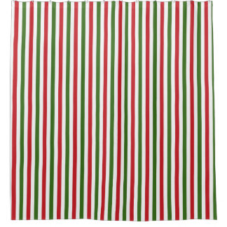 Green and Red Christmas Shower Curtain