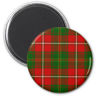 Green and Red Clan Hay Tartan 2 Inch Round Magnet