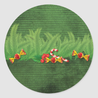 Green and Red Evergreen Striped Round Sticker