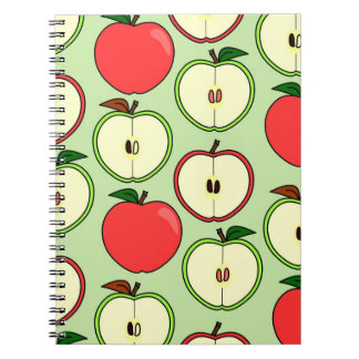 Green and Red Half Apple Print Notebooks