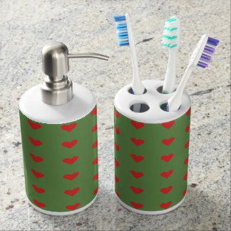 Green and Red Hearts Valentines Toothbrush Holder