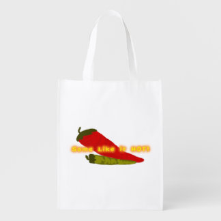 Green And Red Hot Chili Peppers Reusable Grocery Bag